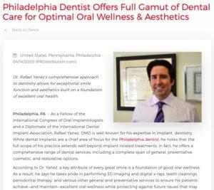 Philadelphia dentist Rafael Yanez, DMD provides a comprehensive range of dental services for optimal oral health and smile aesthetics.